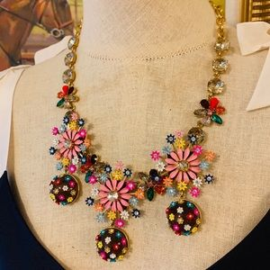 J Crew Crystal and Blossom Statement Necklace